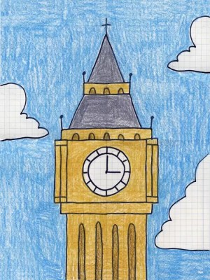 ben drawing projects draw creative clock kid easy london tower cartoon step craft england tutorial children project coloring around