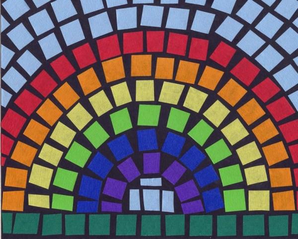 Mosaic Tape Rainbow Art Projects Kids