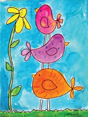 birds simple draw painting projects easy drawing watercolor idea artprojectsforkids flower bird drawings paintings grade kinder stacked birdies project spring