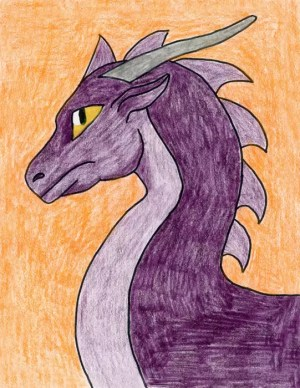 dragon head purple draw easy drawing dragons drawings things projects heads artprojectsforkids complicated kid grade crayon pencil painting teacher instructions