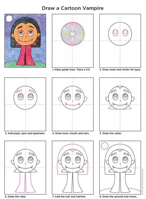 See more ideas about easy drawings, drawing tutorial, drawings. Cartoon Vampire - Art Projects for Kids