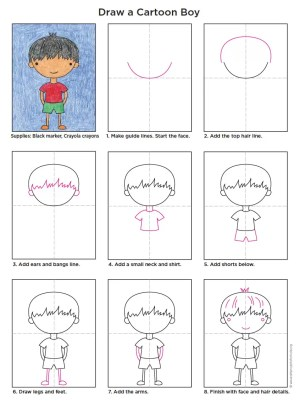 boy cartoon draw drawing diagram easy boys drawings guy doodle artprojectsforkids character tutorial characters