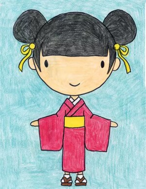 kimono draw drawing easy drawings cartoon japan projects japanese kid artprojectsforkids project traditional elementary chinese tutorial instructions lessons step 3rd