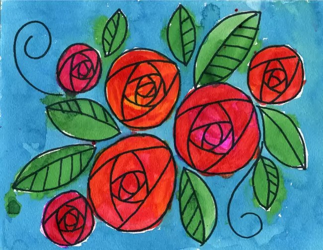 How To Draw A Doodle Rose Art Projects For Kids