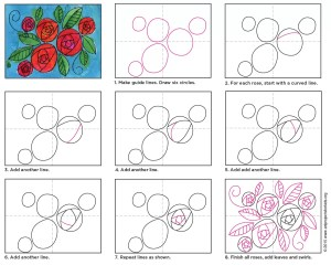 roses circle draw doodle diagram projects cricle tutorial fun way artprojectsforkids