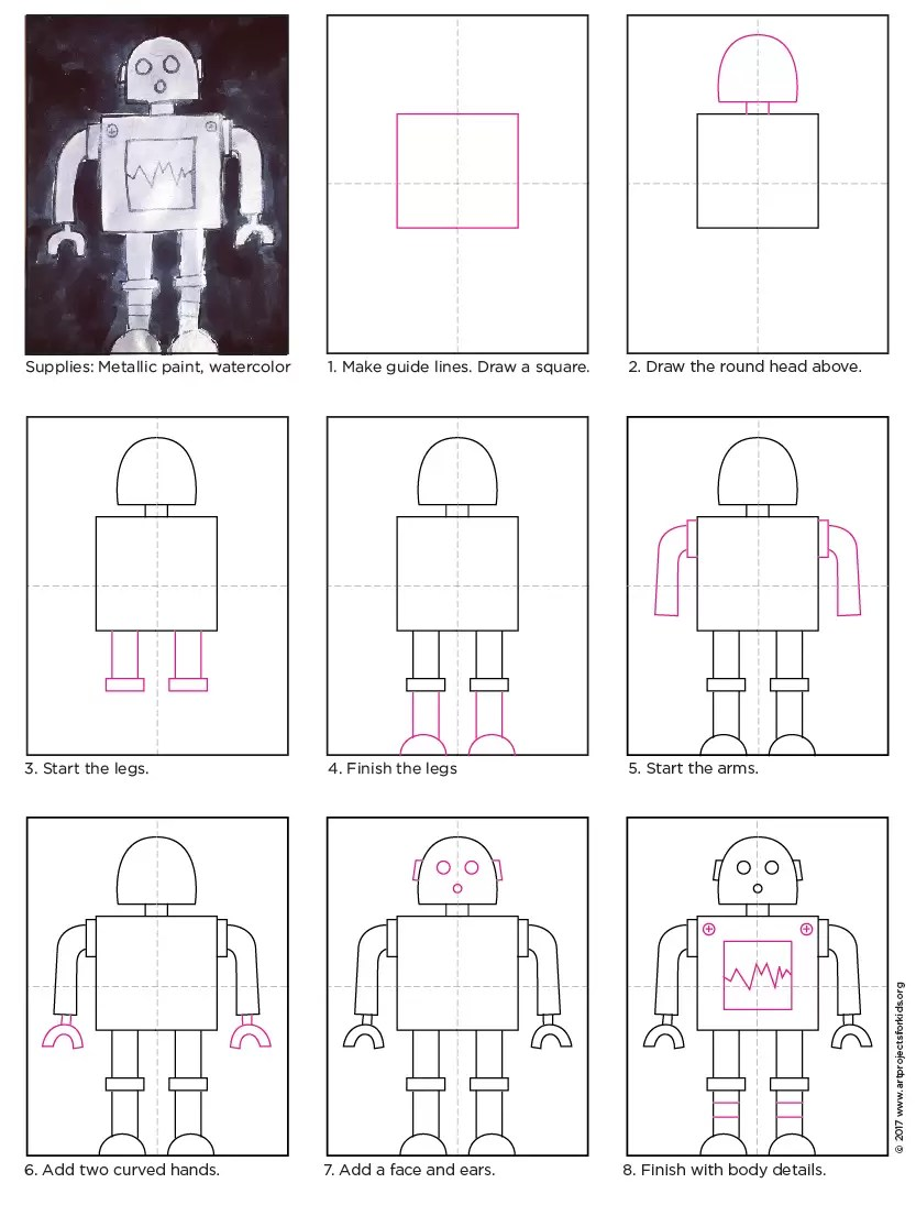 Draw A Robot Art Projects For Kids