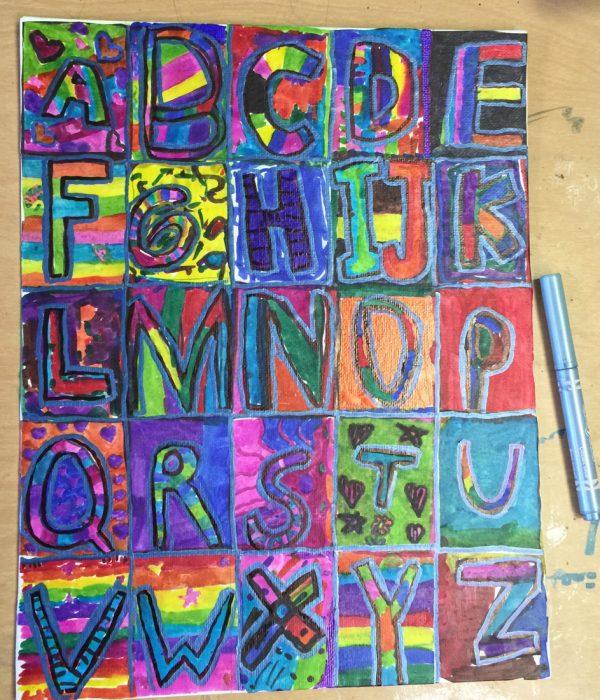 Sharpie Marker Alphabet Art Projects For Kids