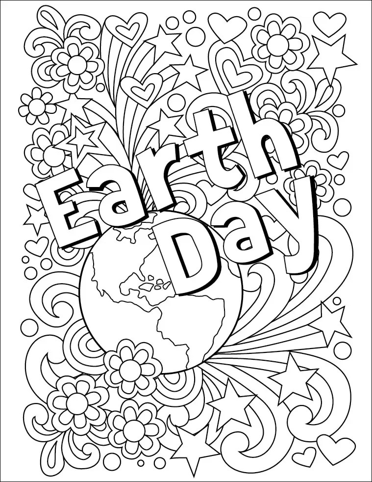 Earth Day Coloring Page · Art Projects for Kids