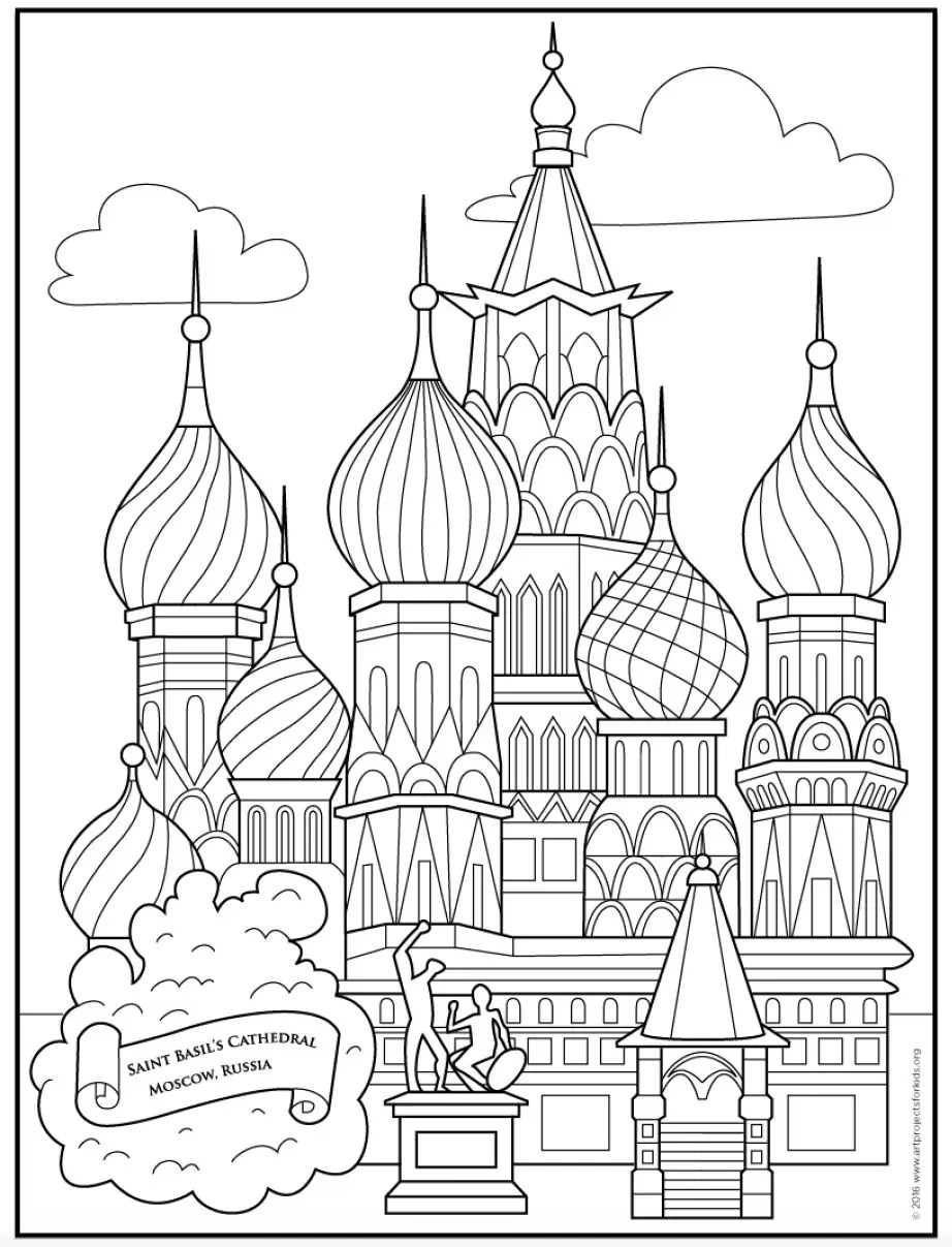 Saint Basil's Cathedral Coloring Page · Art Projects for Kids