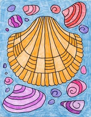 shell sea draw shells drawing easy projects summer artprojectsforkids fun