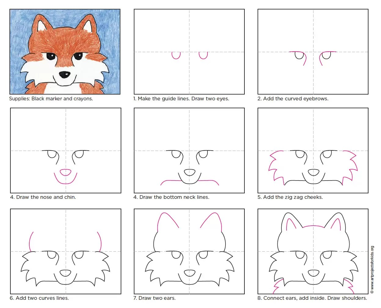 hight resolution of fox face drawing
