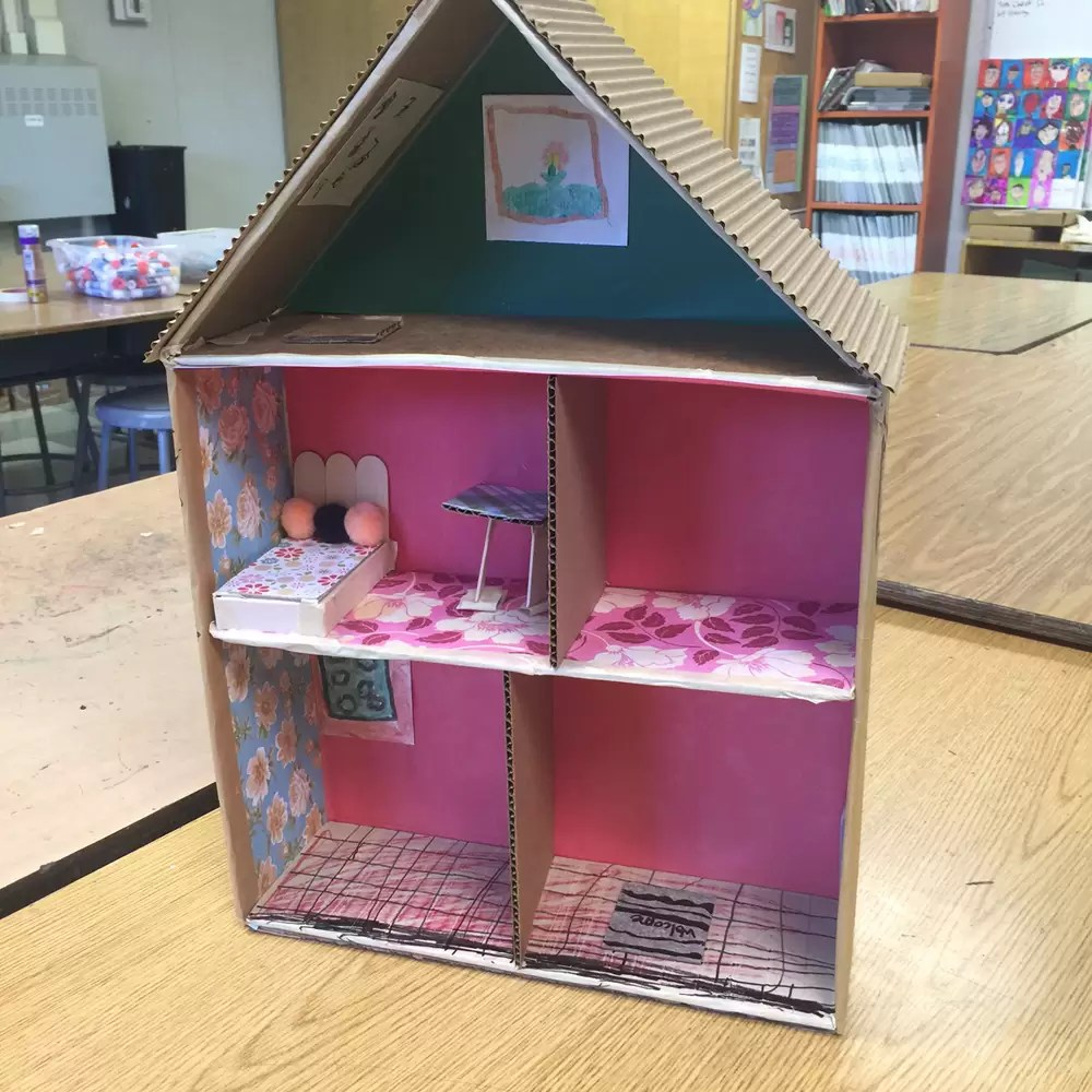 Cardboard House Making Beds Art Projects For Kids