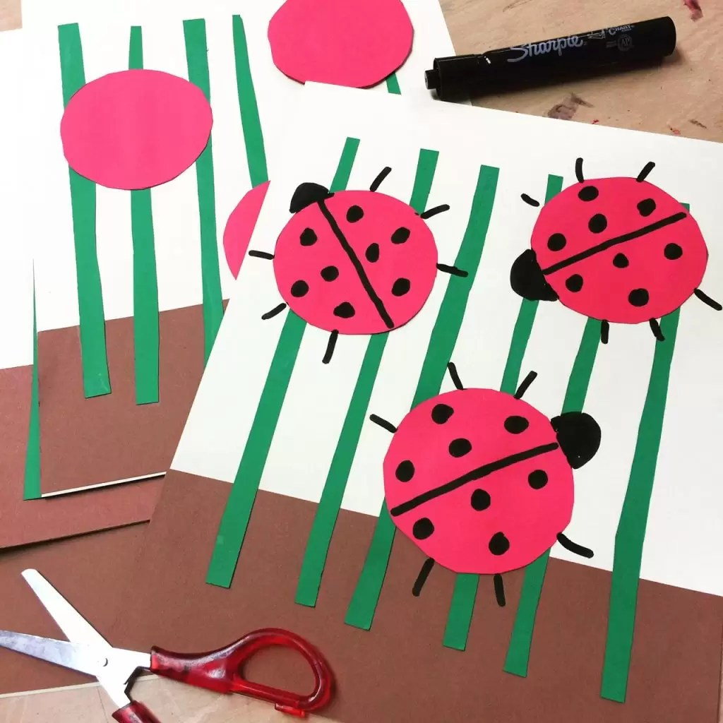 Lady Bug Collage Art Projects For Kids