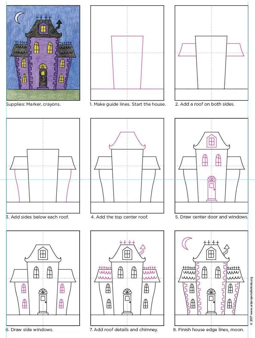Draw An Urban Haunted House Art Projects For Kids