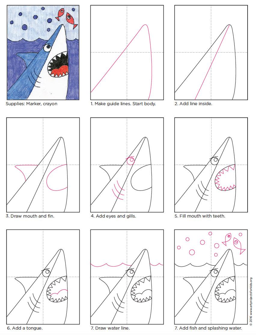 Draw a Cartoon Shark Head  Art Projects for Kids