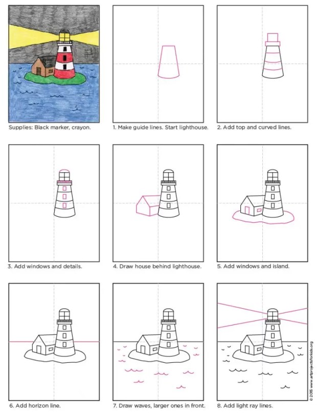 Art projects for kids. Step by step light house drawing