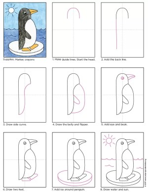 penguin draw easy drawing step drawings tutorial simple projects shapes steps penguins artprojectsforkids side basic graders crafts paper shape paintingvalley