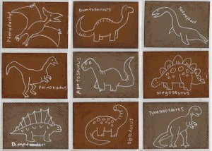 dinosaur cards trading drawings projects dino drawing simple dinosaurs project card fossil line paper activities paleontology cool atc grade brown