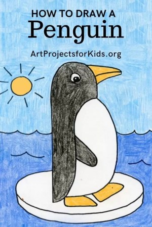 penguin easy drawing draw projects drawings step trace artprojectsforkids simple fun beak feet project toddlers ice crayons tutorial water winter