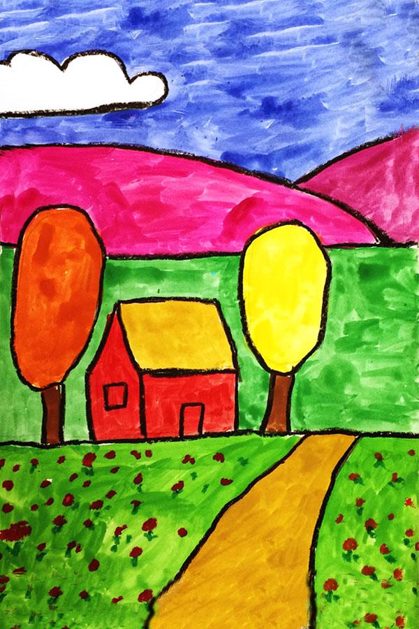Landscape 2nd Grade Art Lesson