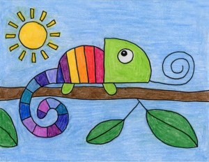 chameleon drawing draw easy projects step simple activities drawings artprojectsforkids fun rainbow directed animals branch students intricate starting might coloring