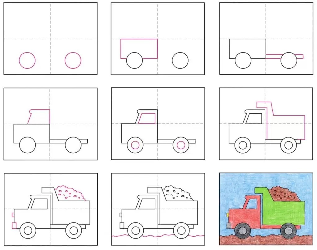 Draw A Dump Truck Art Projects For Kids