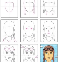 Remarkable Women: How to Draw Amelia Earhart · Art Projects for Kids [ 1024 x 815 Pixel ]