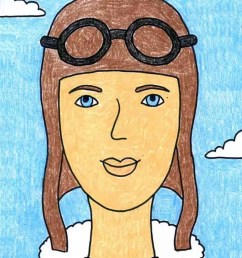 Remarkable Women: How to Draw Amelia Earhart · Art Projects for Kids [ 1024 x 791 Pixel ]