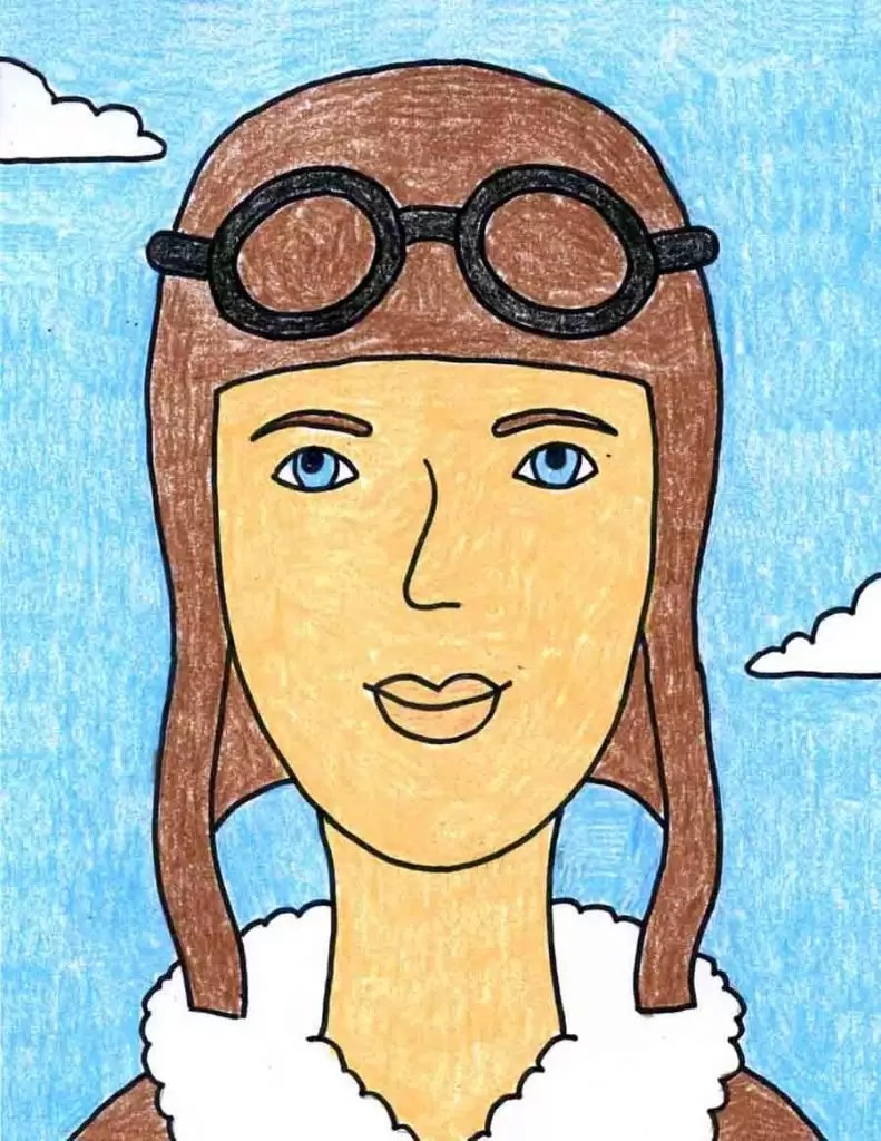 hight resolution of Remarkable Women: How to Draw Amelia Earhart · Art Projects for Kids