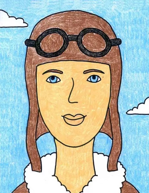 small resolution of Remarkable Women: How to Draw Amelia Earhart · Art Projects for Kids