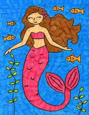 mermaid draw easy cartoon mythical projects pretty trace artprojectsforkids