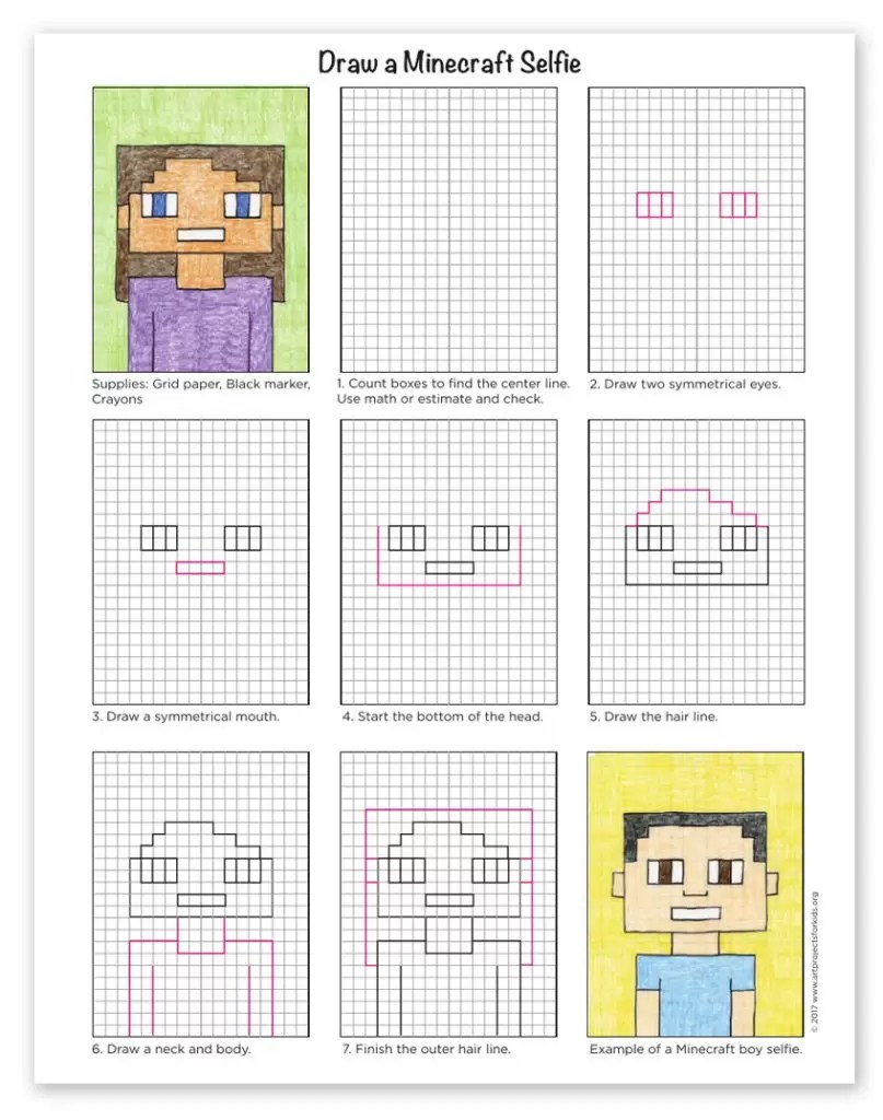 medium resolution of How to Draw a Minecraft Selfie · Art Projects for Kids
