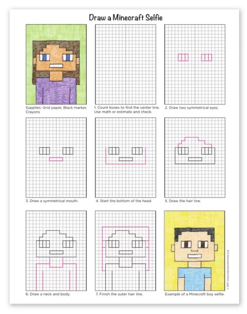 small resolution of How to Draw a Minecraft Selfie · Art Projects for Kids