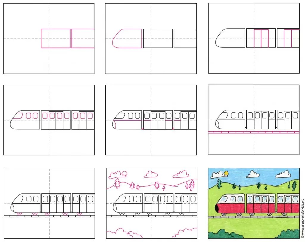 How To Draw A Train Art Projects For Kids