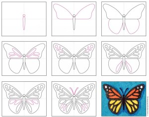 butterfly draw drawing butterflies projects easy drawings artprojectsforkids hard children adults kid too binder fun them diagram painting fascinated understand