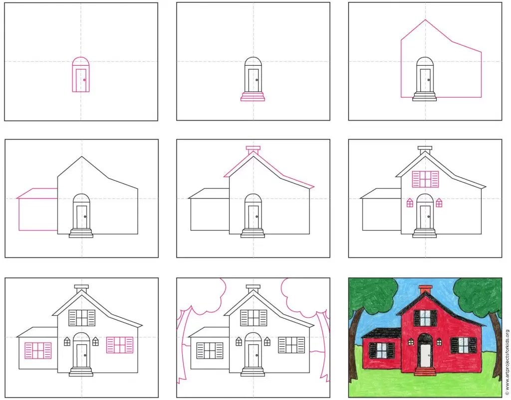How To Draw A House Art Projects For Kids