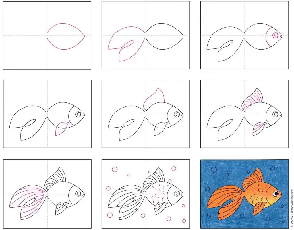How To Draw A Goldfish Art Projects For Kids