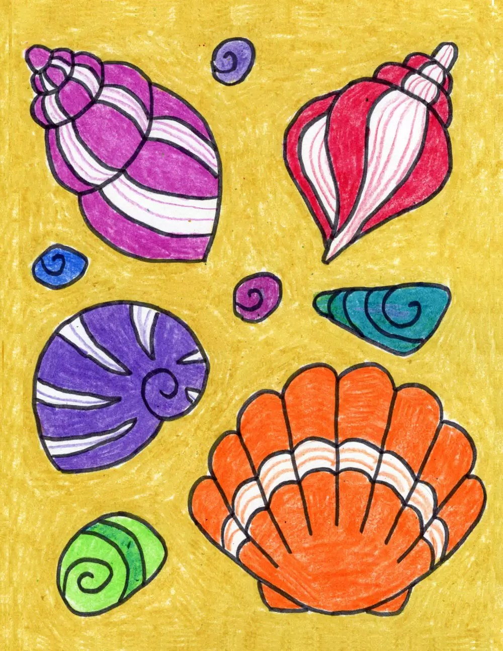 How to draw a Sea Shell with Water Colour Pencils | Shell