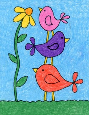 birds draw simple drawing bird painting drawings artprojectsforkids easy projects basic idea flower stack childrens canvas harunmudak