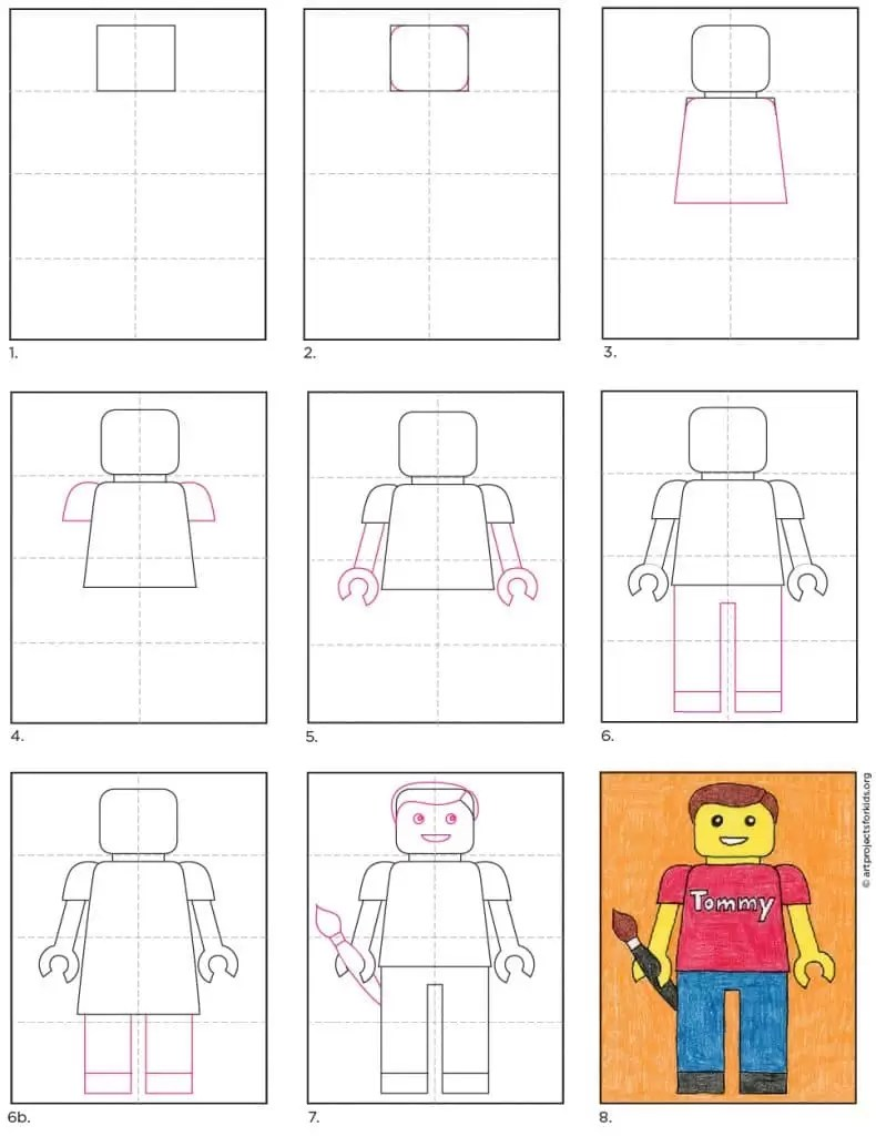 Lego Drawing Easy : drawing, Portrait, Projects