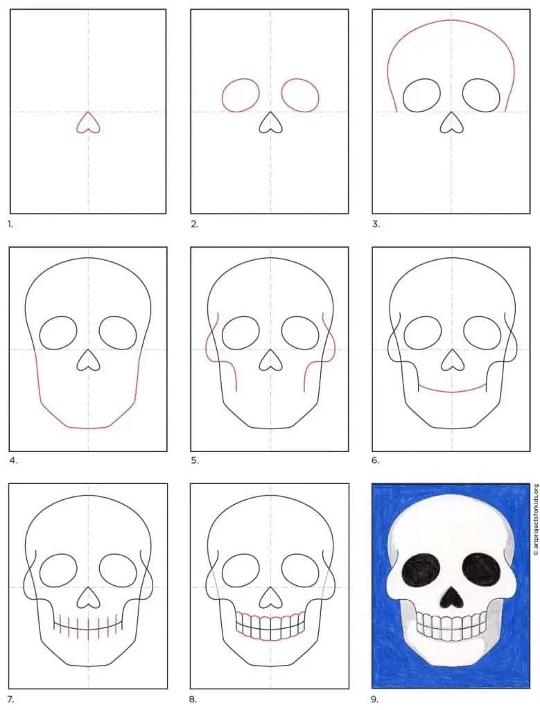 Day Of The Dead Skull Drawing Easy : skull, drawing, Skull, Projects
