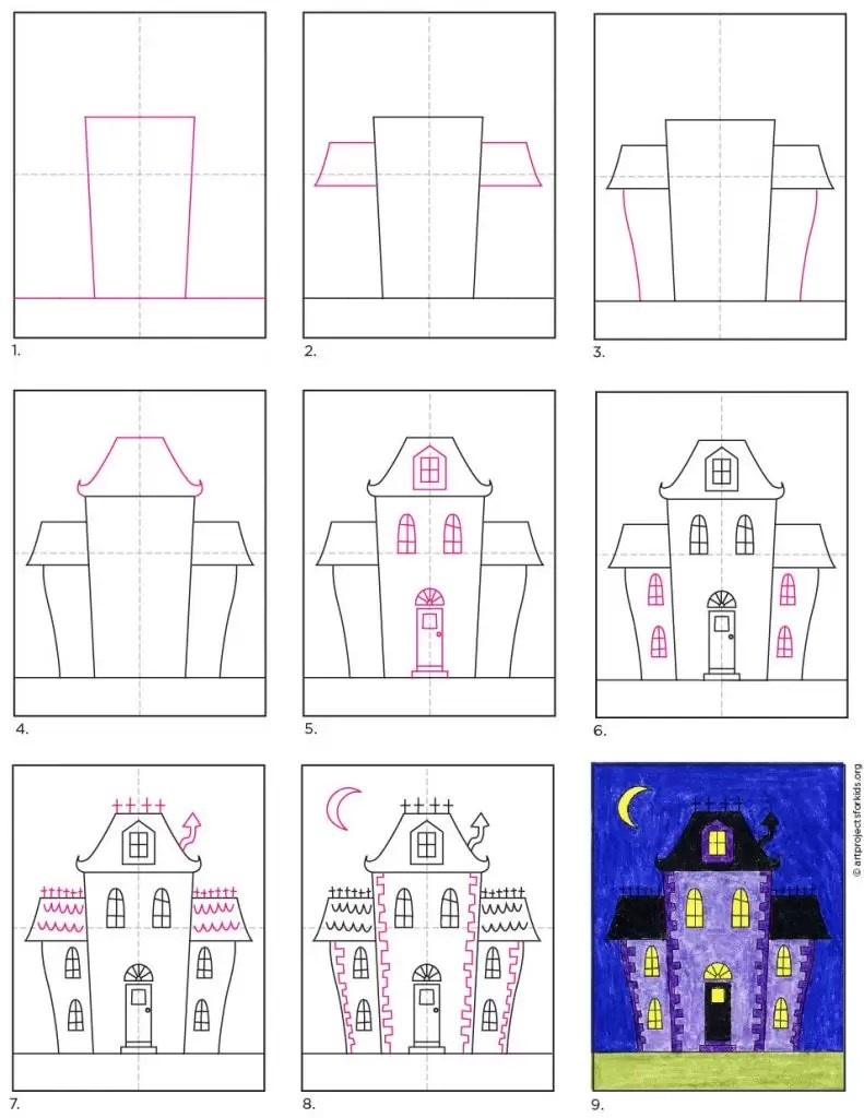 Drawing house form shapes easy acrylic painting coloring for kids#gopicture#babycolors#babydraw#funkeepart, #betainangtv, #tobiart, #drawapicture#drawapictur. How to Draw an Easy Haunted House · Art Projects for Kids