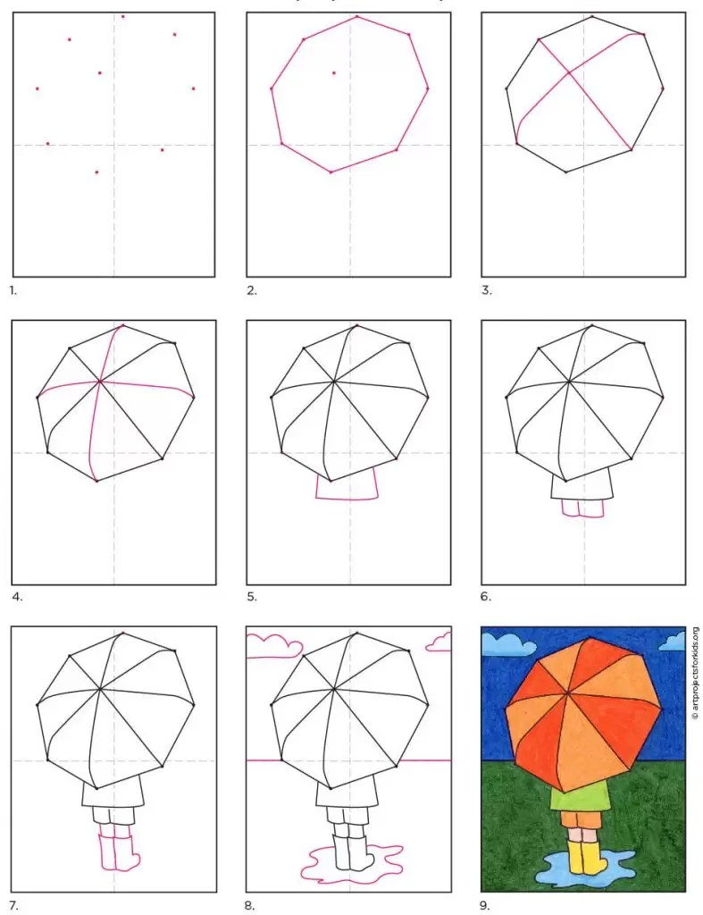 How To Draw An Umbrella Easy : umbrella, بعناية, الهدوء, والطمأنينة, سلامة, Umbrella, Loudounhorseassociation.org