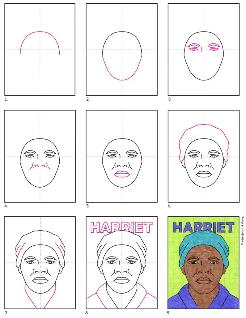 medium resolution of Remarkable Women: How to Draw Harriet Tubman · Art Projects for Kids