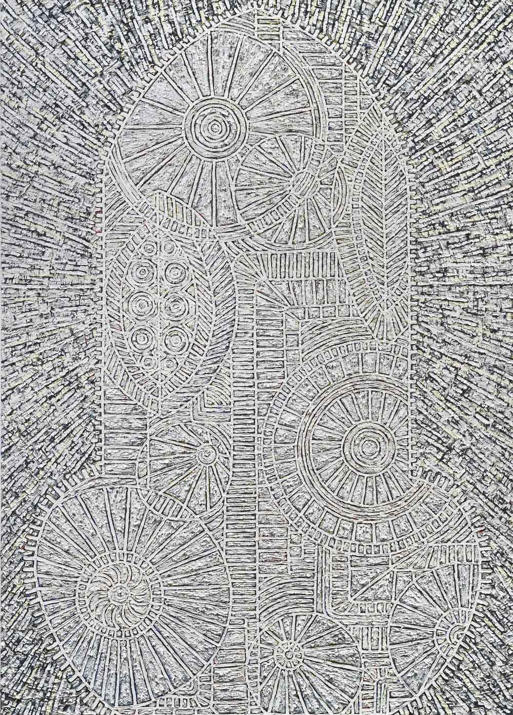"Helen Rebekah Garber,  Tower II, 2012, oil on canvas, 84""x60"". Courtesy Charlie James Gallery."
