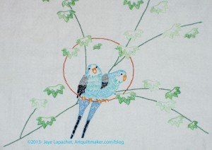Parakeet Embroidery-detail