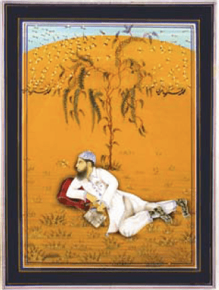 Imran Qureshi (born 1972). Moderate Enlightenment, 2007. Gouache on wasli. H. 9 x W. 7 in. (22.9 x 17.8 cm). Aicon Gallery, New York.