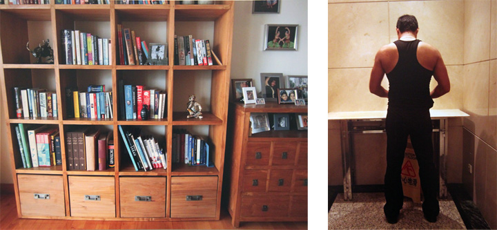 Hidden toy grenade on the book shelve and the male domestic worker. Photography by Sun Yuan and Peng Yu. Image Courtesy to Erin Wooters.