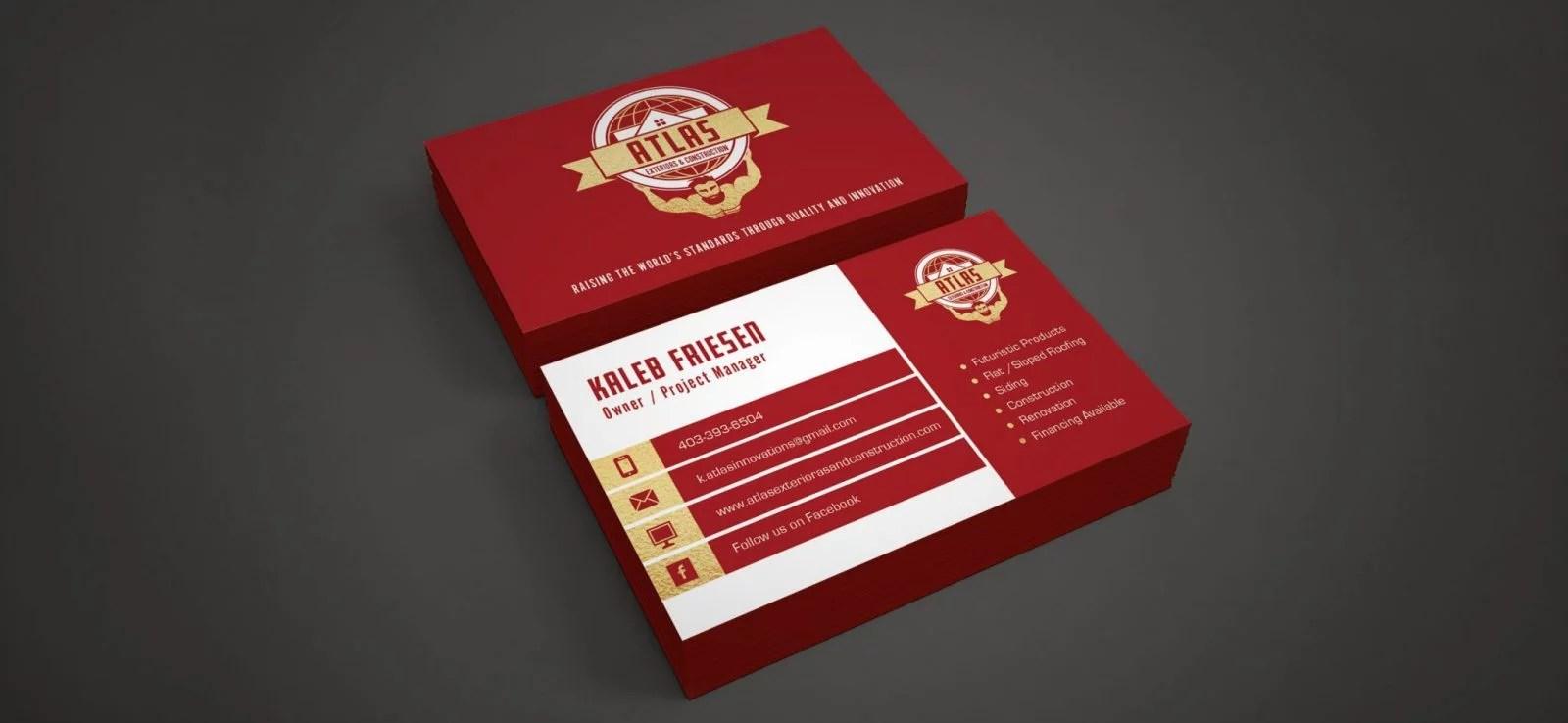 Atlas Exteriors - Business Card Design - Lethbridge Alberta