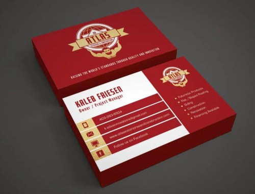 Atlas Exteriors - Business Card Design - Lethbridge Alberta